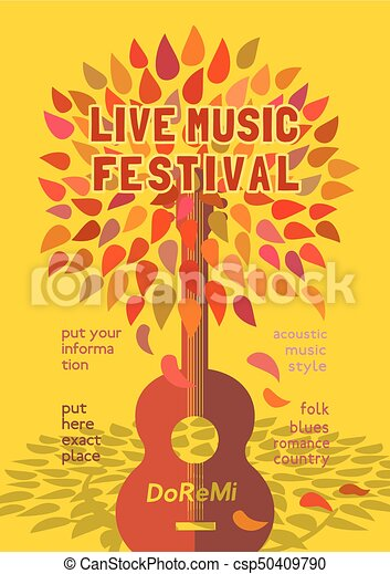 Template Design Poster With Acoustic Guitar Silhouette Autumn Leaves