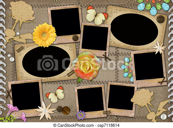 Template for a collage photo. - csp7118614