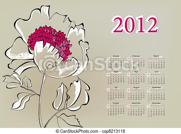 Template for calendar 2012 - csp8213118