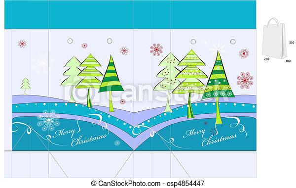 Template for christmas bag design - csp4854447