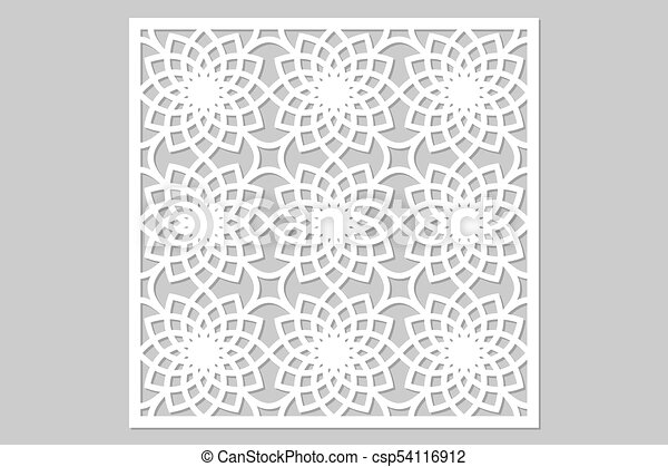 Template for cutting. geometric flower pattern. laser cut. ratio 1:1 ...