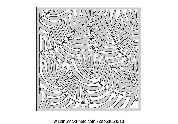 Template For Cutting Palm Leaves Pattern Laser Cut Ratio 1 1 Vector Illustration