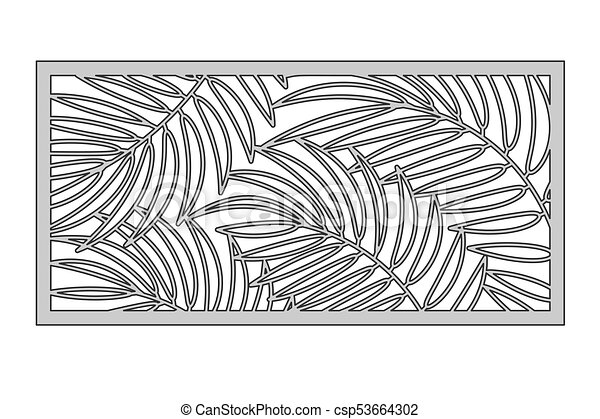 Template For Cutting Palm Leaves Pattern Laser Cut Ratio 1 2 Vector Illustration