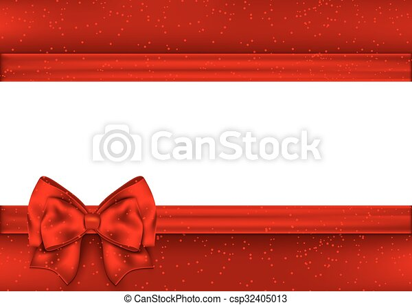Template for greeting card. Border red tape. - csp32405013