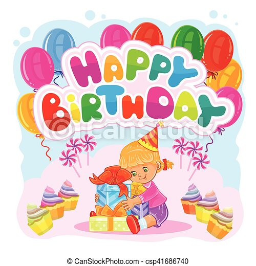 Vector illustration of a little girl opens gifts template eps template for happy birthday greeting card csp41686740 bookmarktalkfo Images