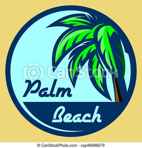 Template For Logo On The Theme Of Tourism With Palm Tree Template