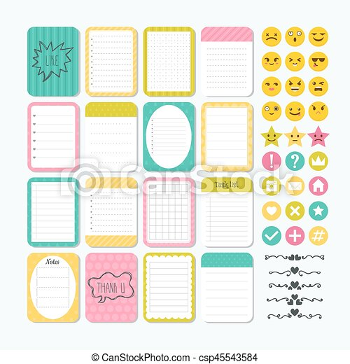 template for notebooks cute design elements notes labels