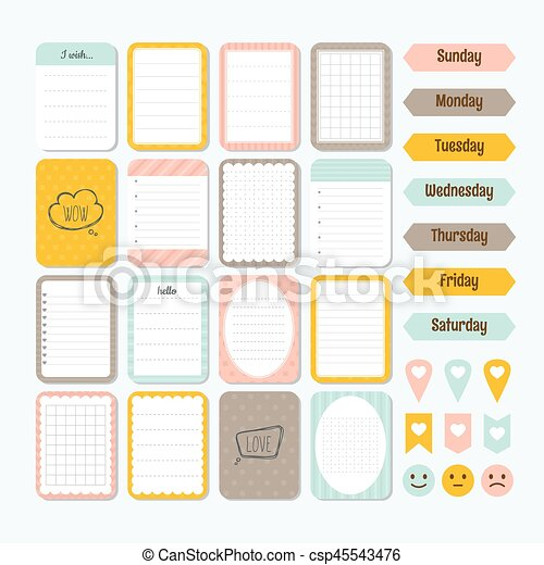 template for notebooks cute design elements collection of various