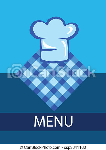 template for restaurant menu with chef hat - csp3841180