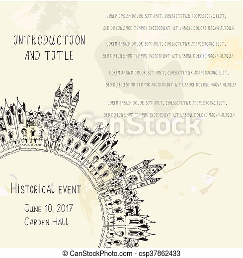 Template for the historical event invitation with castle paper template for the historical event invitation with castle paper texture and text sketchy vector illustration maxwellsz