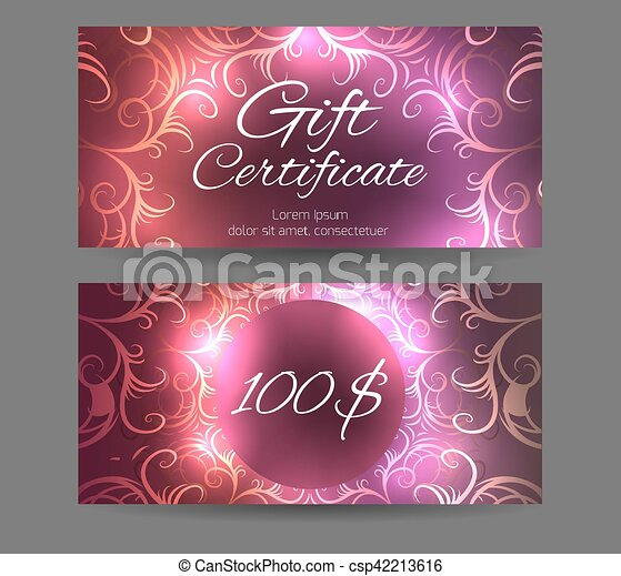 Template Gift Certificate For Yoga Studio Spa Center Vector
