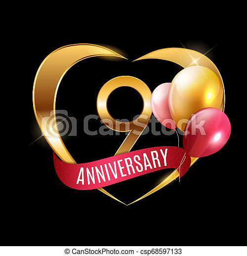 Template Gold Logo 9 Years Anniversary With Ribbon And Balloons Illustration
