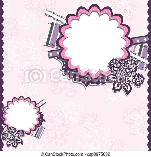 Template greeting card, scrap vector - csp8975632