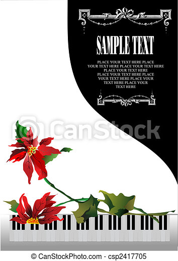 Template greeting card with white piano and flower - csp2417705