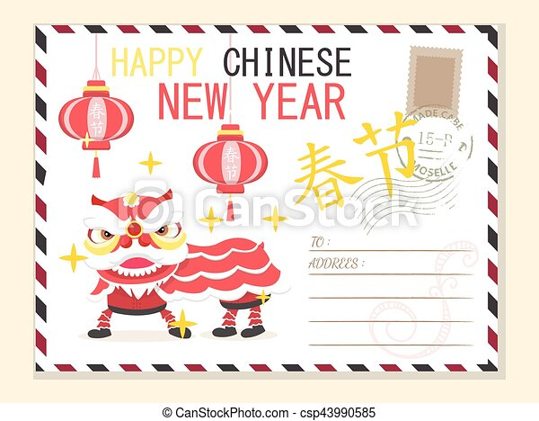 Template happy chinese new year postcard background.