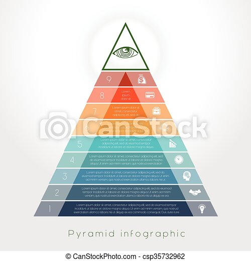 Template Infographic pyramid for nine text area - csp35732962