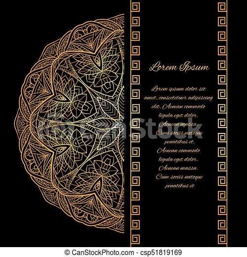 Template invitation in style gatsby with gold mandala pattern and template invitation in style gatsby with gold mandala pattern and place for text csp51819169 stopboris Image collections