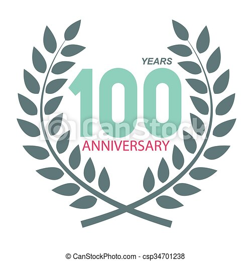 Template logo 100 anniversary in laurel wreath vector illustration ...
