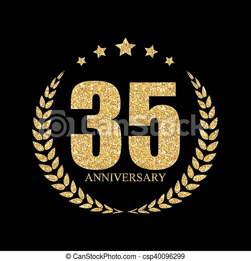 Template Logo 35 Years Anniversary Vector Illustration Eps10 Eps