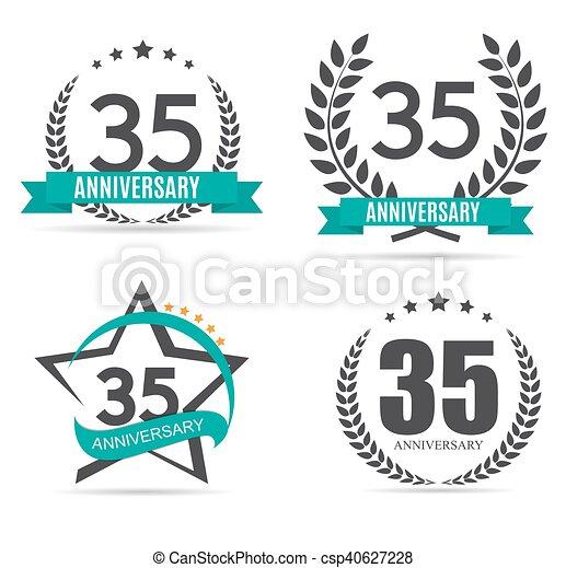Template Logo 35 Years Anniversary Vector Illustration Eps10 Vector