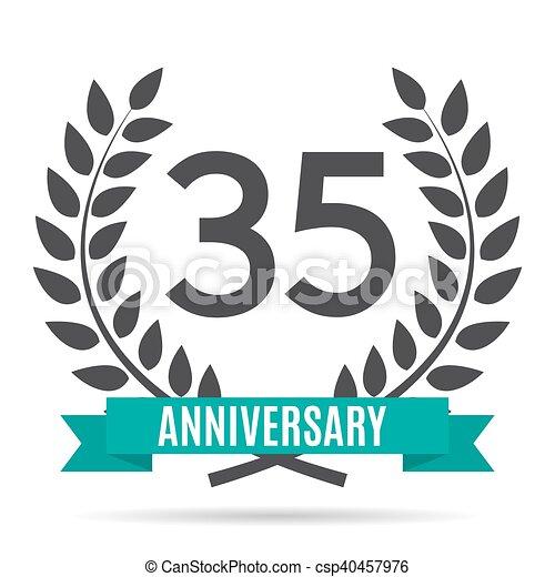 Template Logo 35 Years Anniversary Vector Illustration Eps10 Vectors