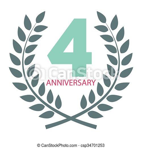 Template logo 4 anniversary in laurel wreath vector illustration eps10.