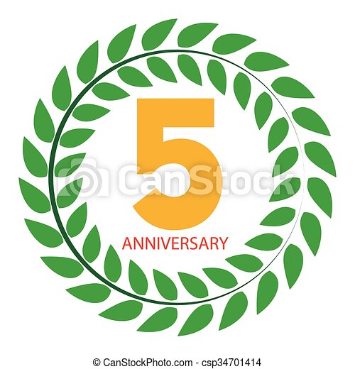 Template logo 5 anniversary in laurel wreath vector illustration eps10.