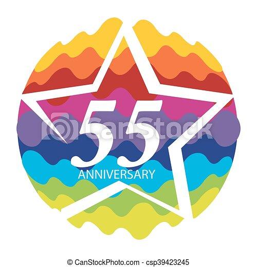Template Logo 55 Anniversary Vector Illustration