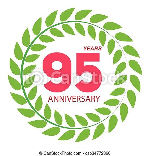 Template logo 95 anniversary in laurel wreath vector illustration eps10.