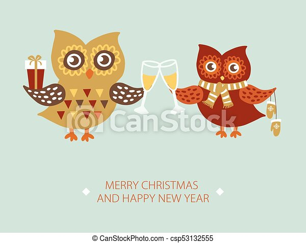 template of christmas card with couple of owls csp53132555