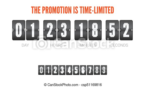 Template of flip countdown timer, clock counter. time is limited ...