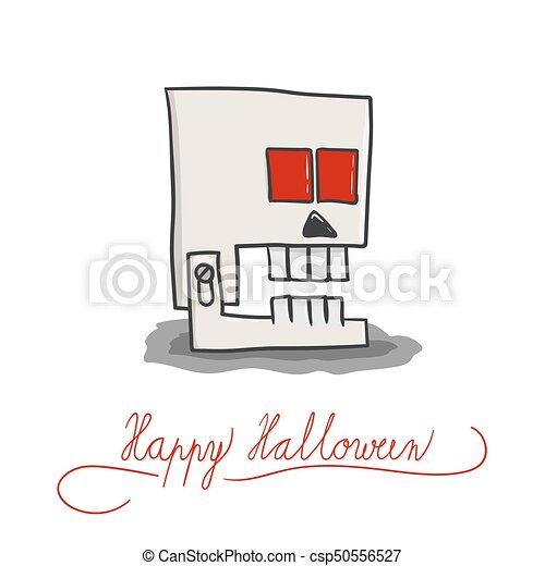Vector Template Of Halloween Card Concept With Robotic  Vector