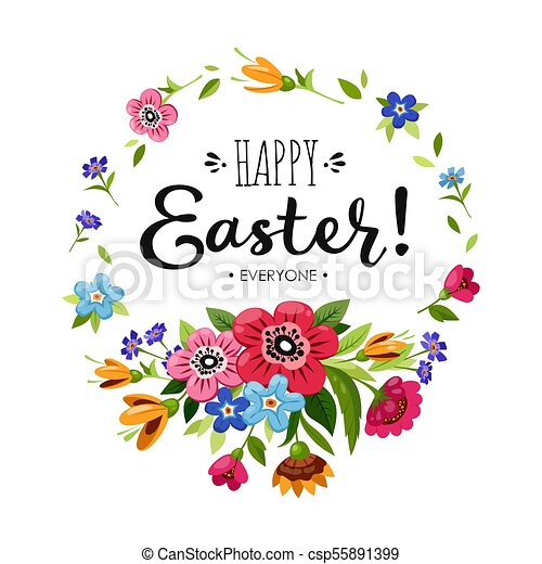 Lettering Happy Easter Everyone In Round Flower Frame Vector Floral