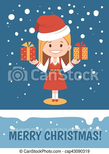 Template of holiday postcard. Merry Christmas card. - csp43090319