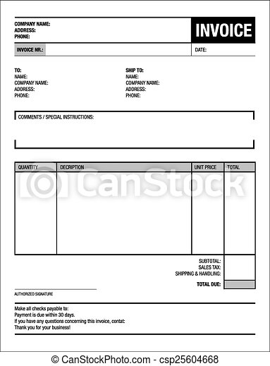 Template Of Unfill Paper Tax Invoice Form Clip Art Vector  Search