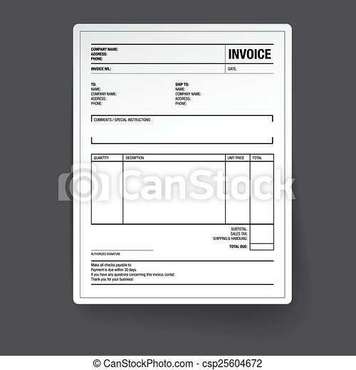 Template of unfill paper tax invoice form.