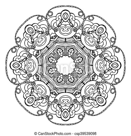 Template round doodle pattern for greeting cards, coloring books