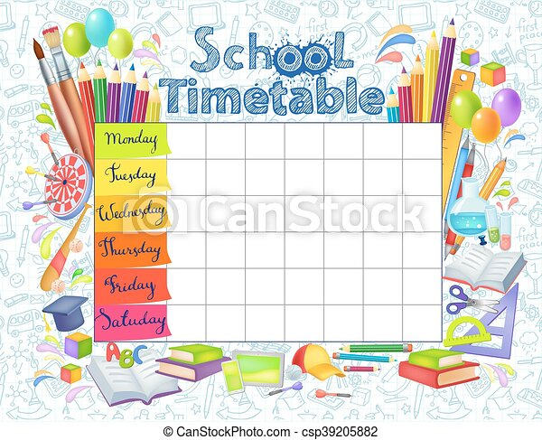 Template school timetable - csp39205882
