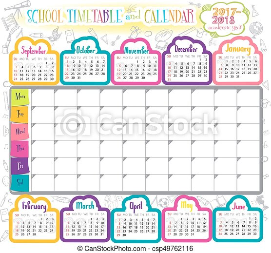Template school timetable - csp49762116