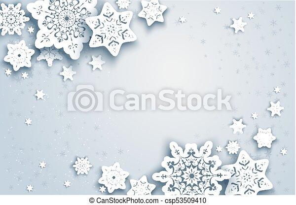 Template season winter frame. White winter snow paper cut background ...
