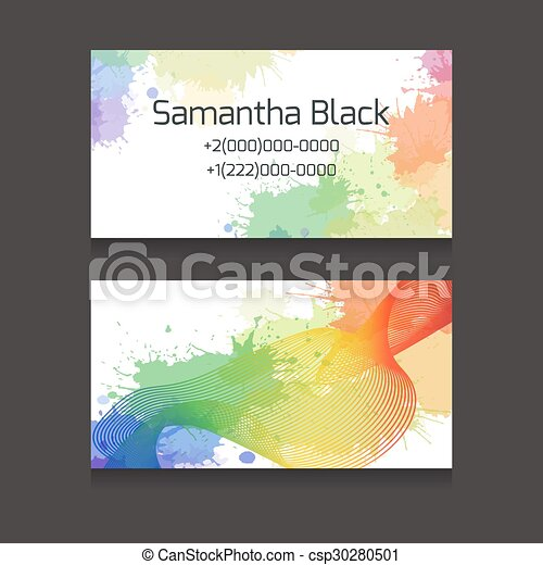 Template two sided business cards with colorful watercolor splashes template two sided business cards csp30280501 wajeb Image collections