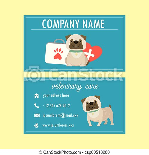 Template Veterinary Business Cardcute Cartoon French Bulldogvector