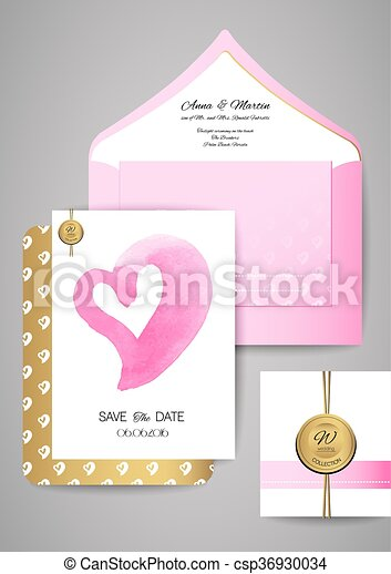 template wedding invitation and envelope with watercolor heart shape