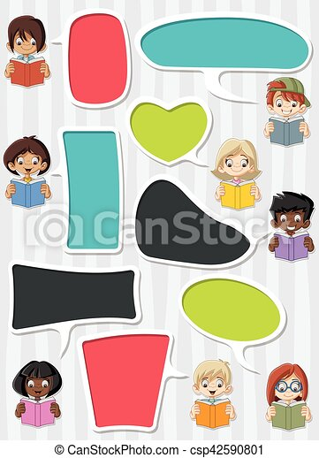 Template With Cartoon Children Reading Books Students Talking With