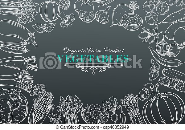template with hand drawn vegetables - csp46352949