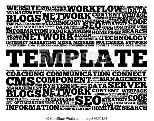 template word cloud, business concept vector illustration - search, Powerpoint templates