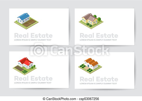 Templates of business cards for real estate agencies city portals templates of business cards csp53067256 reheart Image collections