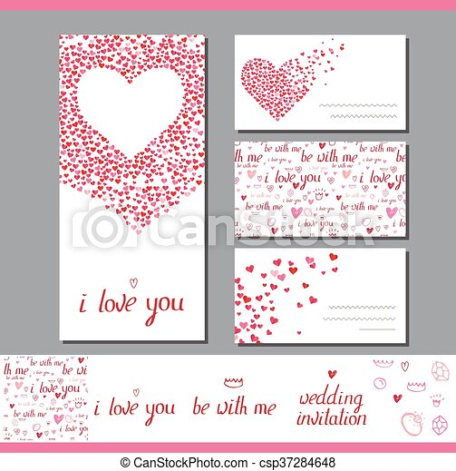 Templates With Heart Made Of Small Ones Phrase Wedding Invitation