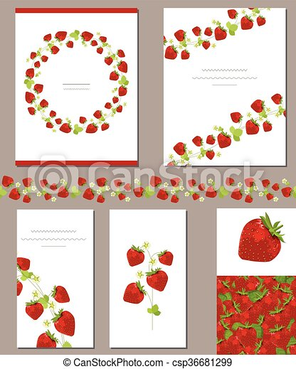 templates with red ripe strawberries templates with red ripe