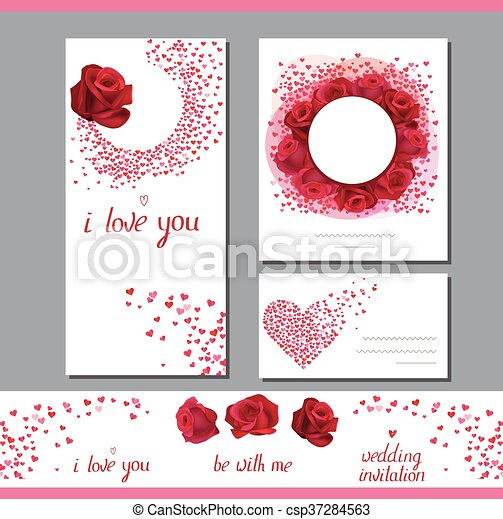 templates with roses and small hearts. phrase i love you. clip
